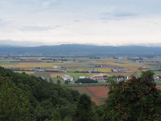 ユンニの湯手前の高台から、パッチワークの田園風景