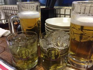 生ビールとクーポンの食前梅酒