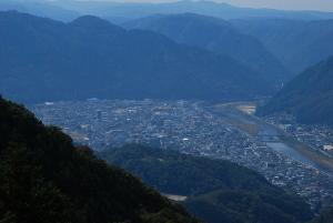備中松山城展望台から見た高梁の町