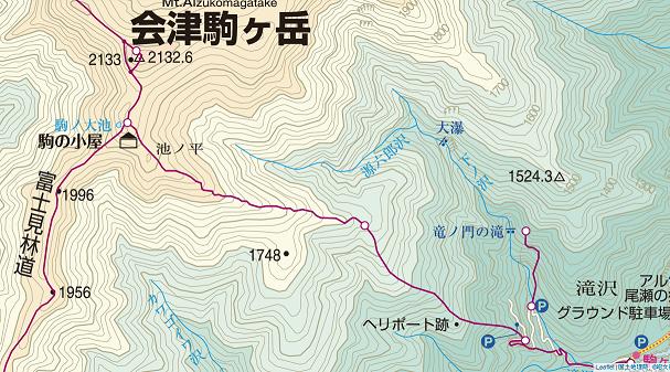 会津駒ヶ岳地図