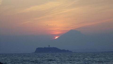 富士に沈む夕日