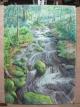 描き上げた渓流の絵