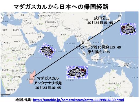 マダガスカルから日本への経路