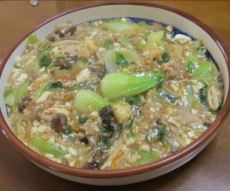 チンゲンサイと豆腐の炒め物