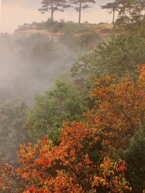 竹中城跡雲海と紅葉