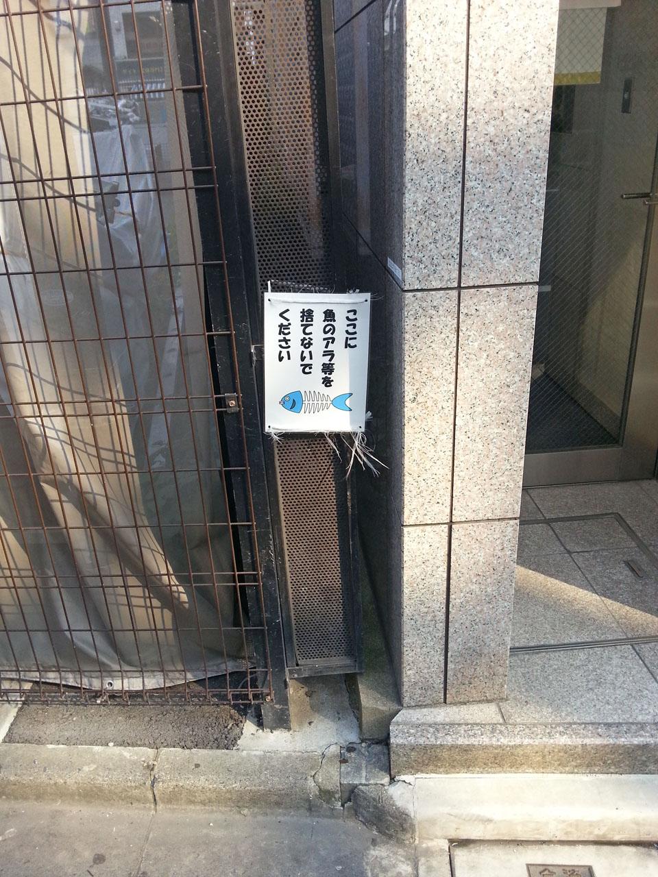 ここに魚のアラ等を捨てないでください