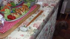 晩御飯 鶏とタタキ 足元R