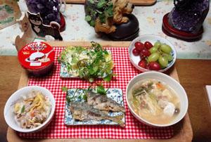 晩御飯 アジ酢漬け ポテトサラダ かしわの水炊き
