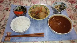 お昼ご飯 タンビーフシチュー 肉じゃが 揚げ出し豆腐 酢物