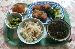 朝ごはん 松茸ご飯 鶏甘酢
