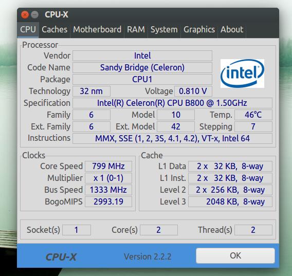 CPU-X Ubuntu システム情報 ポータブル