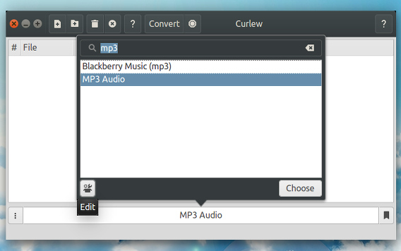 Curlew Ubuntu m4a mp3 変換 フォーマットの選択