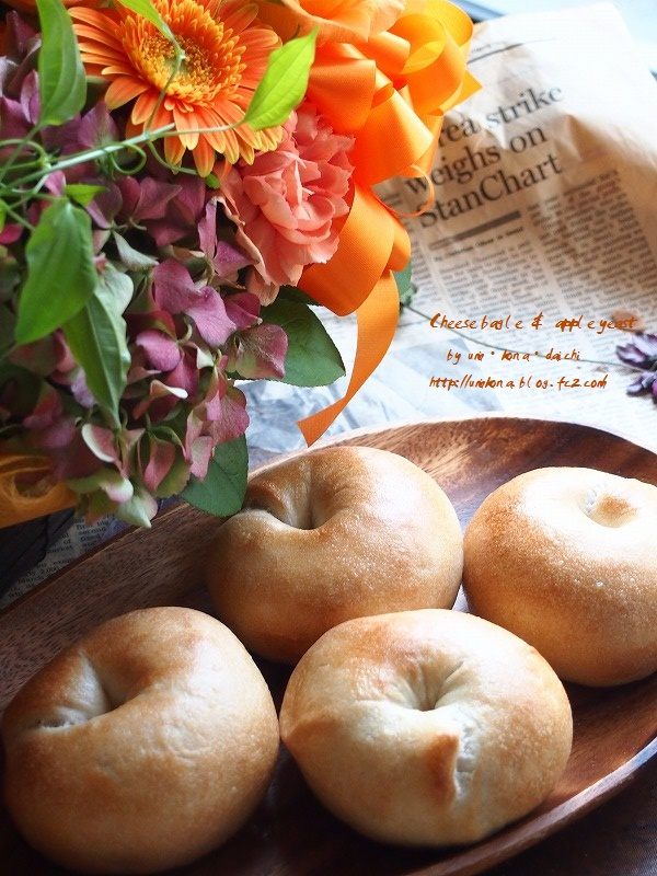 チーズベーグル&お花1