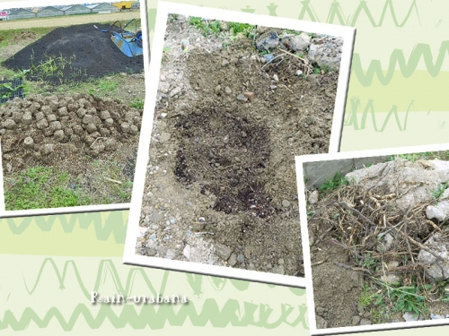 不要になったポットの土を混ぜて...と (^ ^)