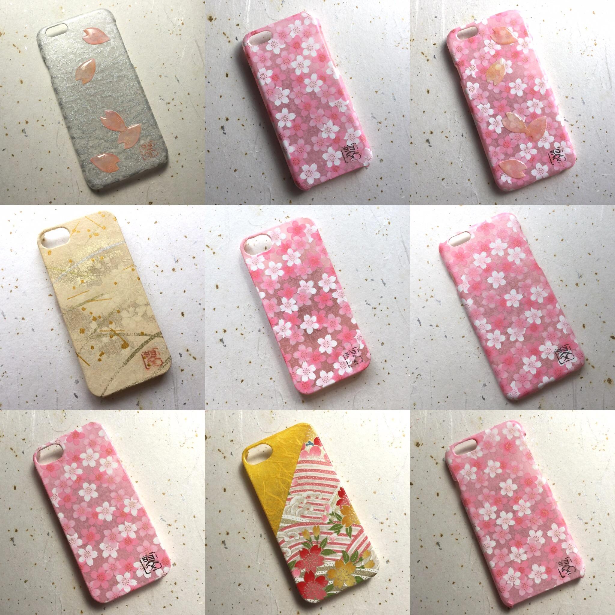 受注製作iPhone・スマホカバー⑥ 和紙スマホカバー 和紙iPhoneカバー iPhoneカバー スマホカバー 和紙 和柄 和風 友禅和紙 モダン 桜