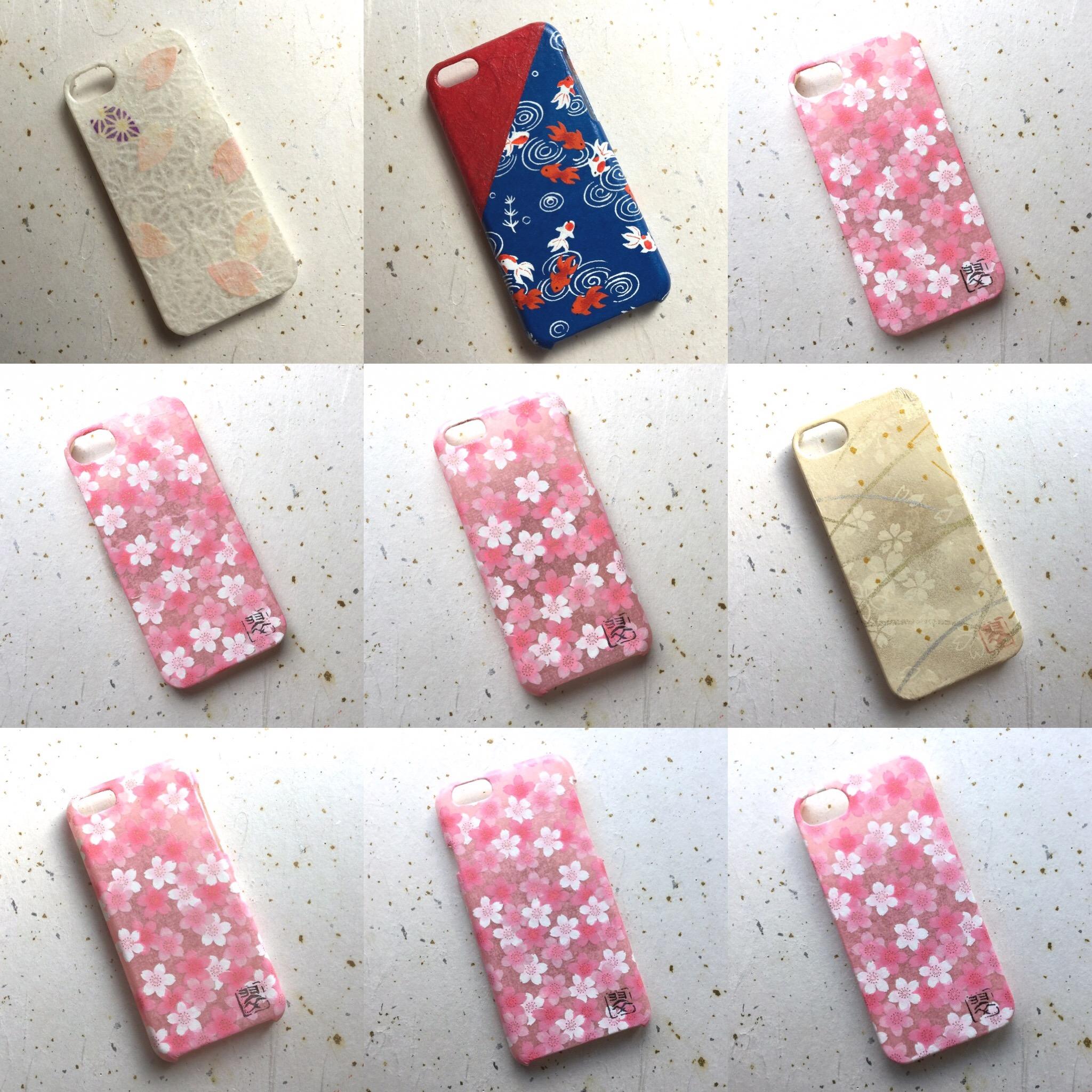受注製作iPhone・スマホカバー⑦ 和紙スマホカバー 和紙iPhoneカバー iPhoneカバー スマホカバー 和紙 和柄 和風 友禅和紙 モダン 桜