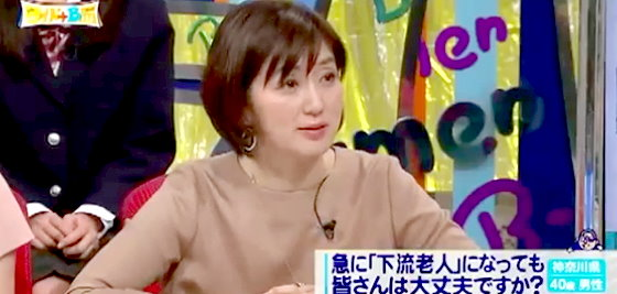 ワイドナショー画像 芸能界にも広がる「下流老人」について質問する佐々木恭子アナウンサー 2015年11月29日