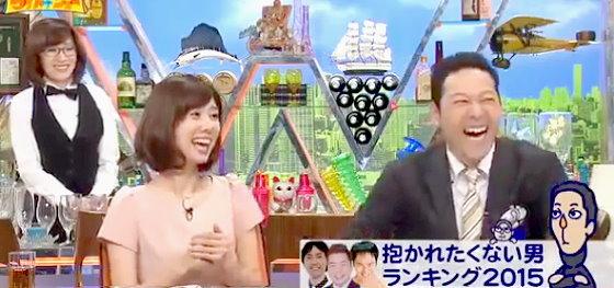 ワイドナショー画像 「抱かれたくない男ランキングの応募者の順位をつける」という松本人志の発言に爆笑の山崎夕貴アナと東野幸治 2015年11月29日