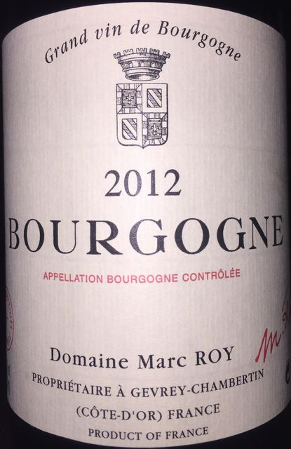 Bourgogne Domaine Marc Roy 2012