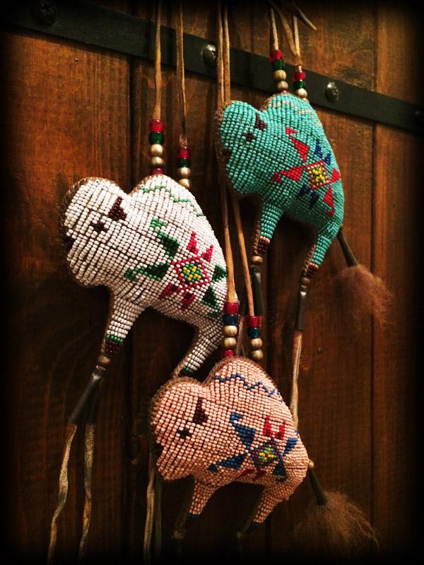 three beaded buffalo amulet 2