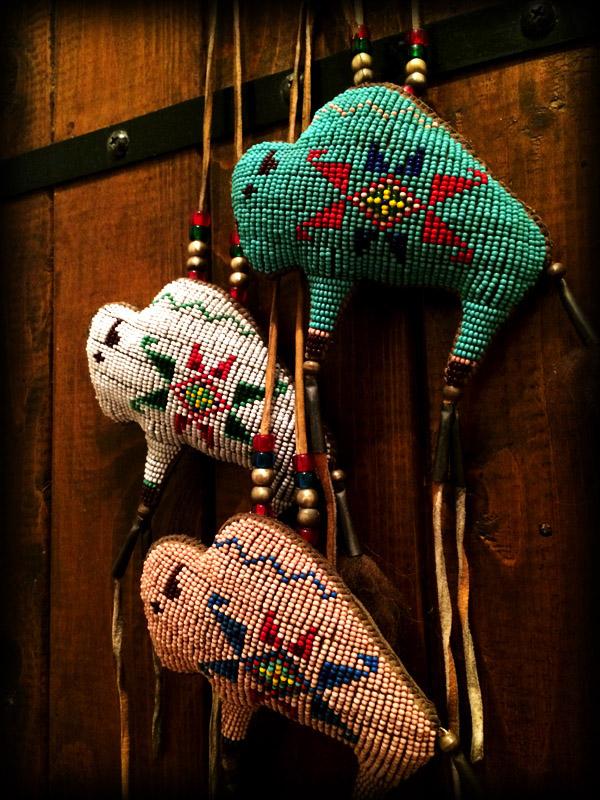 three beaded buffalo amulet 3