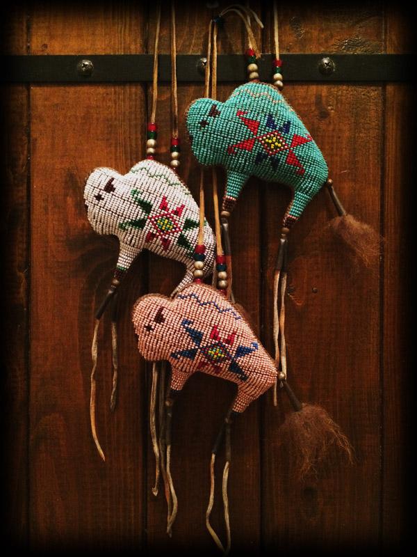 three beaded buffalo amulet 1