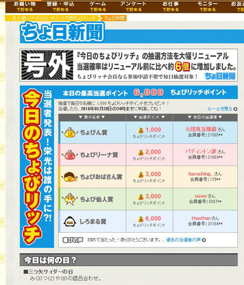 ちょび新聞で当選発表