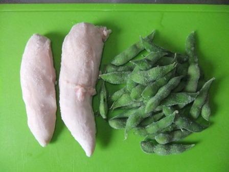 ササミと枝豆のポン酢和え①