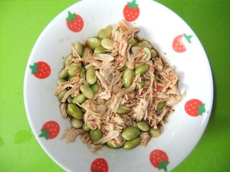 ササミと枝豆のポン酢和え⑩