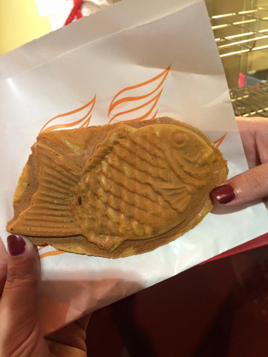 a wonderful smelling fresh fish waffle from the tokyo kabuki theater