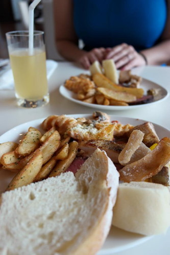 Buffet Lunch at the Imperial Palace Hotel under my large pile of bread and fries is some of the most tender roast beef Ive eve