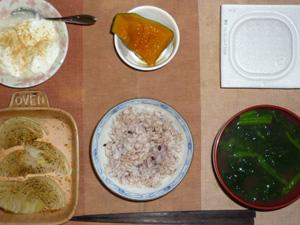 胚芽押麦入り五穀米,納豆,玉葱のオーブン焼き,カボチャの煮物,ほうれん草おみそ汁,甜菜糖入りヨーグルト