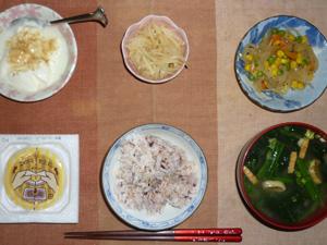 胚芽押麦入り五穀米,納豆,玉葱とミックスベジタブルのソテー,もやしの生姜醤油和え.ほうれん草とワカメのおみそ汁,甜菜糖入りヨーグルト