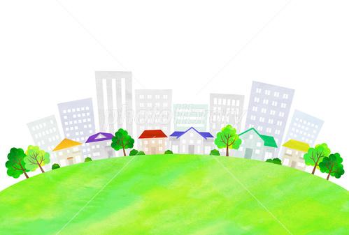 エコでナチュラルな自然イラスト素材 初夏のビルと町並みイラスト