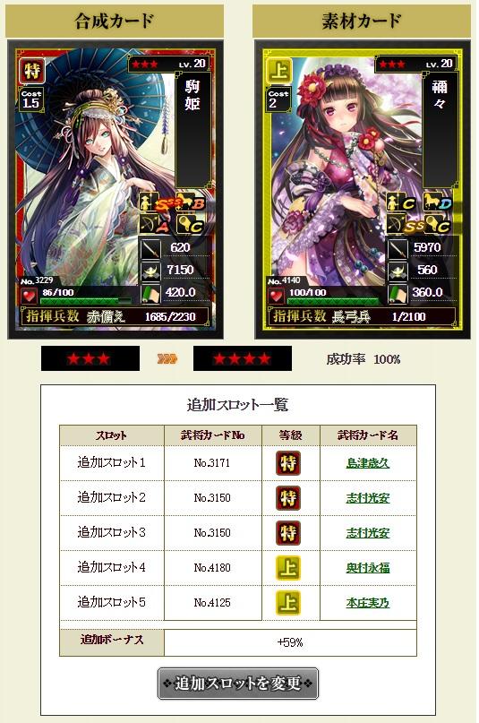 ランクアップ 駒姫★4