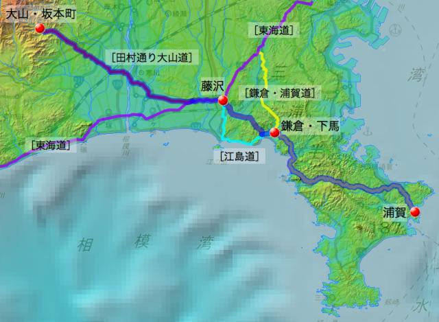 大山・坂本町〜浦賀、水飴購入に往復したと推定される経路