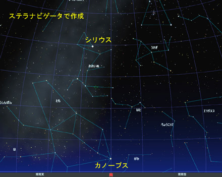 星図 カノープス南中