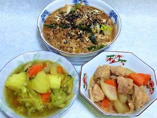 160315_3838豚肉と豆腐の味噌煮・野菜のカレー風味スープ・鶏肉と大根の甘辛煮VGA