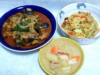 160329_3853麻婆茄子・シウマイと野菜の卵炒め・クリームシチューVGA