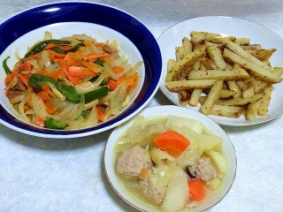 160405_3871鶏肉と野菜のオイスター炒め・スティックジャーマンポテト・ガーリック風味の和風ポトフVGA
