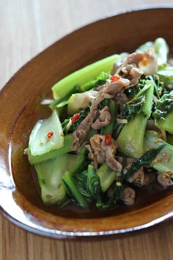 こぶ高菜と豚肉の炒め物
