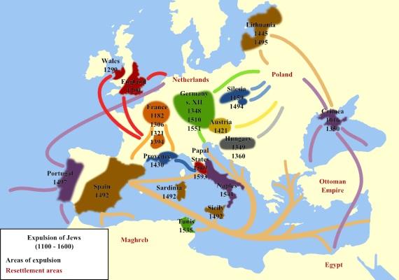 1100年から1600年にかけてのヨーロッパにおけるユダヤ人の追放による民族移動を示す地図