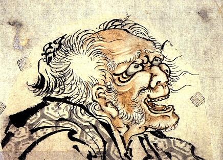 天保13年(1842年)、82歳(数え年83歳)頃の自画像(一部)