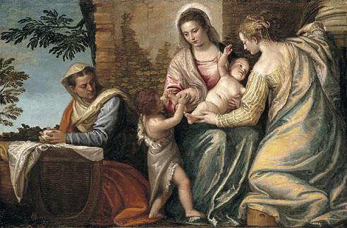 『エリサベト、幼児洗礼者ヨハネ、聖ユスティナと聖母子』 パオロ・ヴェロネーゼ