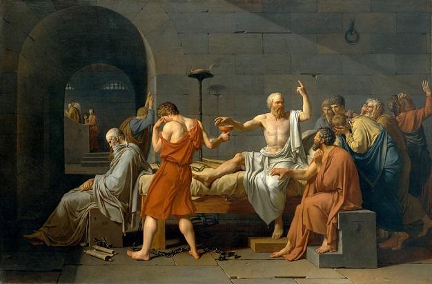 ソクラテスの最期を描いた『ソクラテスの死』(ジャック=ルイ・ダヴィッド画、1787年)