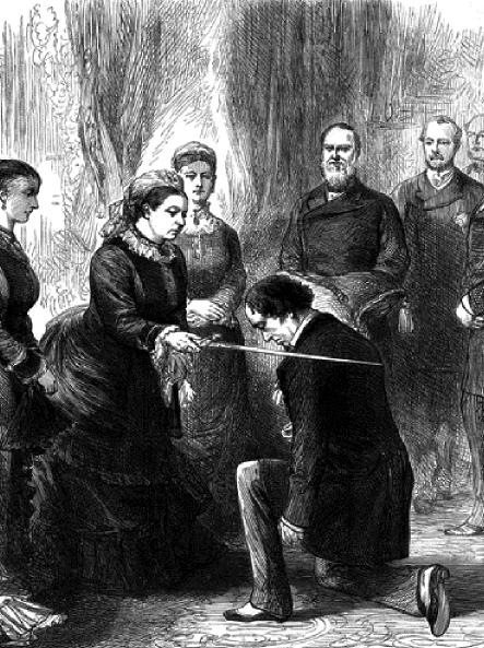 ユダヤ人の首相ベンジャミン・ディズレーリをビーコンズフィールド伯爵に叙するヴィクトリア女王