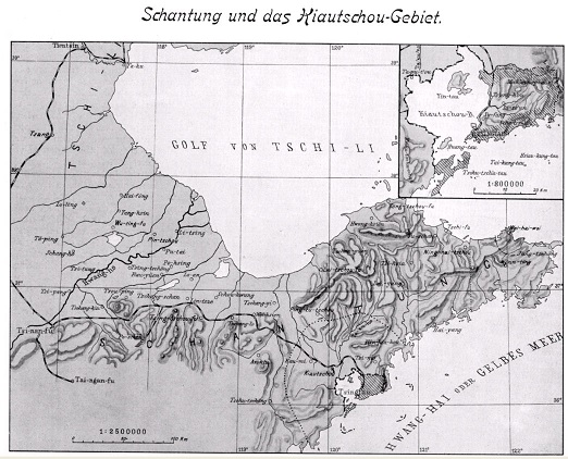 ドイツ勢力下にあった1912年の山東半島の地図。右上に膠州湾租借地の拡大図がある。