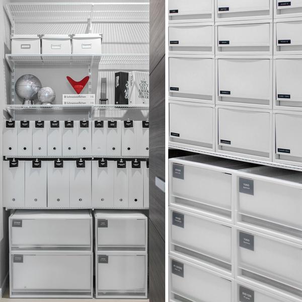 納戸の収納 収納部屋 無印良品 ファイルボックス 収納ケース 白黒 モノトーン