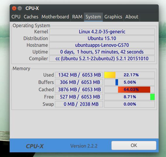 CPU-X Ubuntu システム情報 タブ切り替え