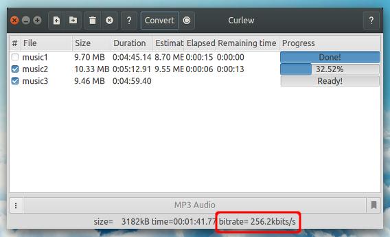 Curlew Ubuntu m4a mp3 変換開始